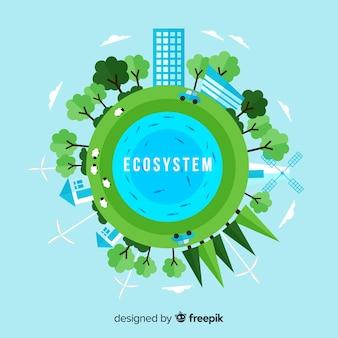 Ecosysteem en aardconcept in vlakke stijl
