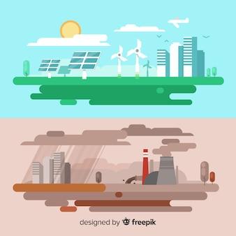 Ecosysteem en vervuiling concept