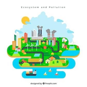 Ecosysteem en vervuilingsconcept in vlakke stijl