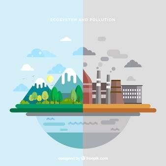 Ecosysteem en vervuilingsontwerp in vlakke stijl