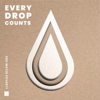 Ecosysteem waterdruppelsjabloon met gemengde media voor bomen
