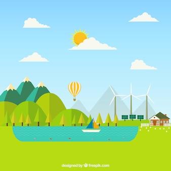 Ecosysteemconcept in vlakke stijl