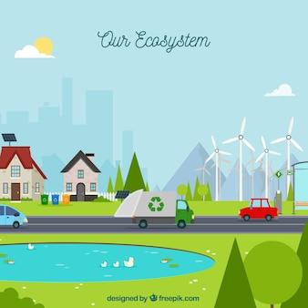 Ecosysteemconcept met afvalvrachtwagen