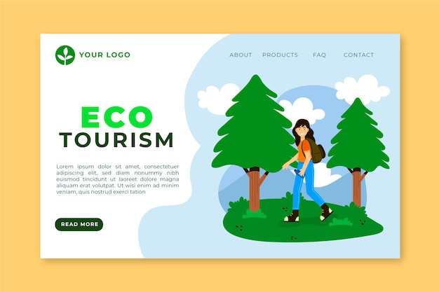 Ecotoerisme bestemmingspagina met vrouw