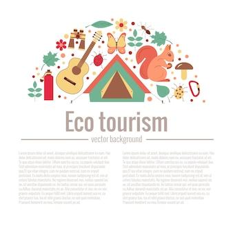 Ecotoerisme camping poster sjabloon met platte cartoon designelementen
