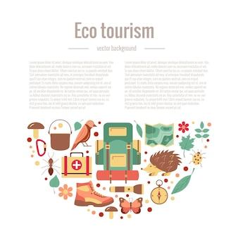 Ecotoerisme camping poster sjabloon met platte cartoon designelementen Premium Vector