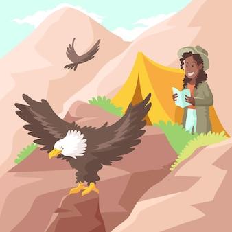Ecotoerisme concept met berg