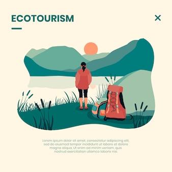 Ecotoerisme concept met vrouw
