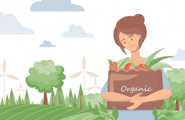 Ecozak van de vrouwenholding met organische groentenillustratie. groene levensstijl, biologische boerderij voedsel concept.