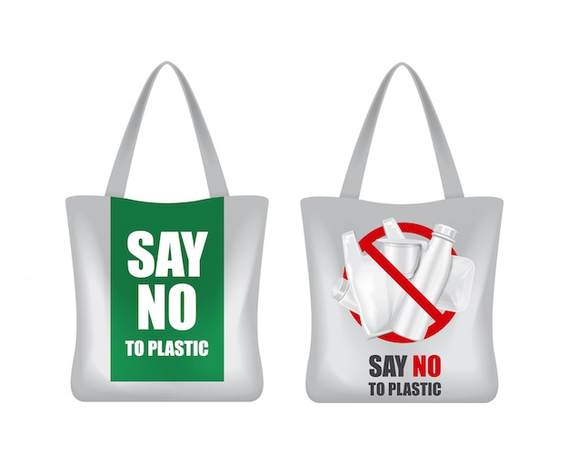 Ecozak. zeg nee tegen plastic. zero waste. groene eco-aarde. red de wereld