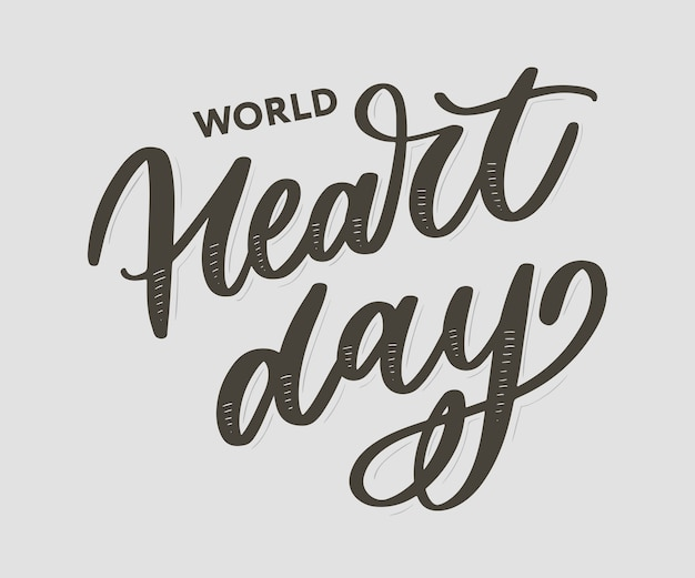 Ector-illustratie voor world heart day belettering kalligrafie