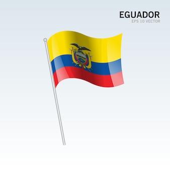 Ecuador zwaaien vlag geïsoleerd op een grijze achtergrond