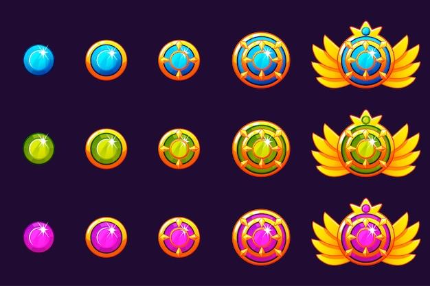 Edelstenen belonen vooruitgang. gouden amuletten bezet met ronde sieraden. pictogrammen activa voor game-design.