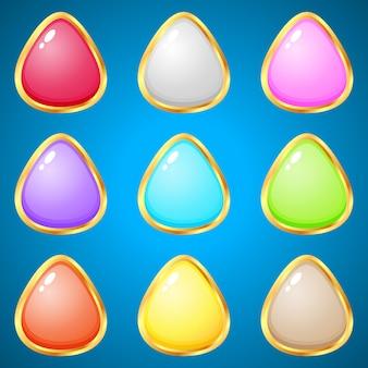 Edelstenen driehoek 9 kleuren voor puzzelspellen.
