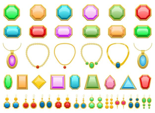 Edelstenen, oorbellen en sieraden illustratie geïsoleerd op een witte achtergrond