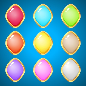 Edelstenen ruit 9 kleuren voor puzzelspellen.
