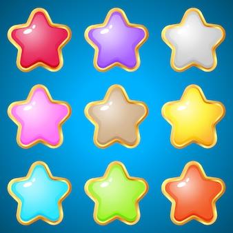 Edelstenen sterren 9 kleuren voor puzzelspellen.