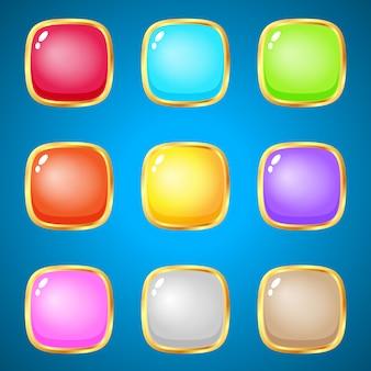 Edelstenen vierkant 9 kleuren voor puzzelspellen.