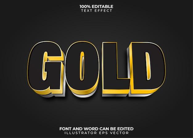 Editablegold-teksteffect volledig bewerkbaar zwart goud en zilver
