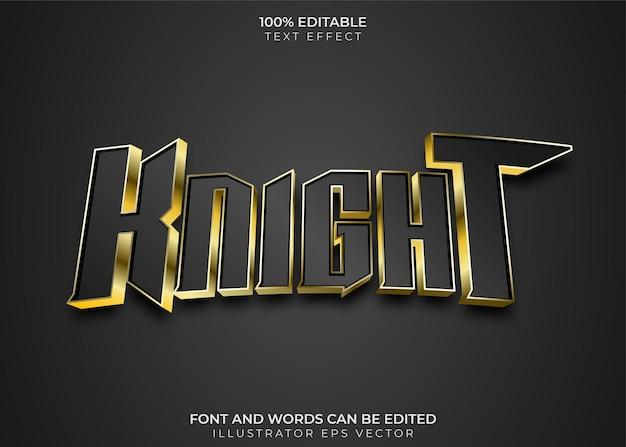 Editableknight-teksteffect volledig bewerkbaar zwart-goudthema geschikt voor esport