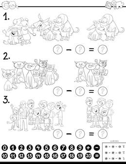 Educatief aftrekspelletje voor kinderen met kinderen en dierenfiguren