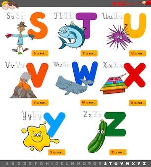 Educatief cartoon alfabet ingesteld voor kinderen