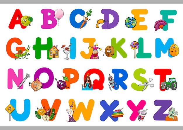 Educatief cartoon alfabet voor kinderen