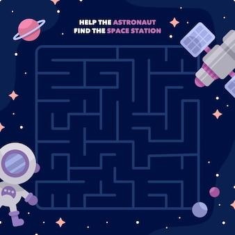 Educatief doolhof voor kinderen met astronaut