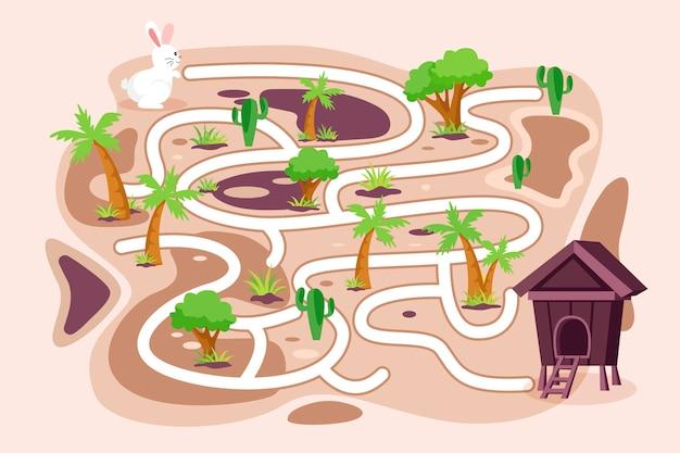 Educatief doolhof voor kinderen met konijn