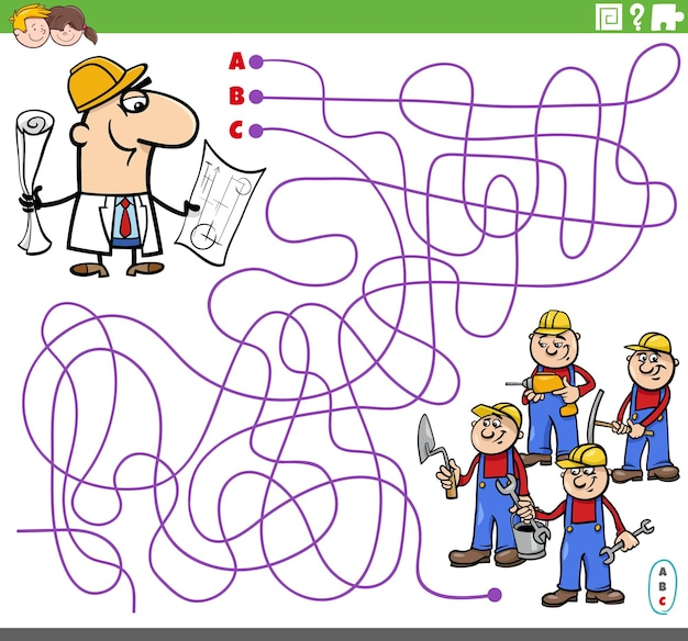 Educatief doolhofspel met cartoonarchitect en bouwers