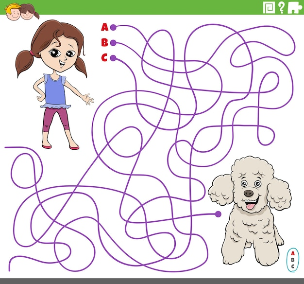 Educatief doolhofspel met cartoonmeisje en poedelhond