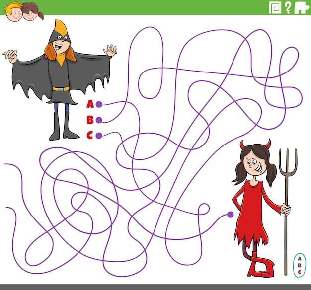 Educatief doolhofspel met cartoonmeisjes op een kostuumfeestje