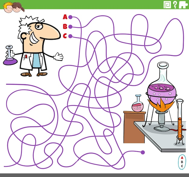 Educatief doolhofspel met cartoonwetenschapper en lab