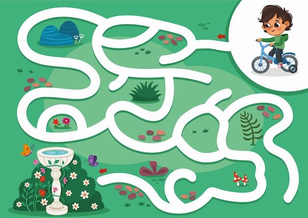 Educatief doolhofspel voor kinderen vectorillustratie