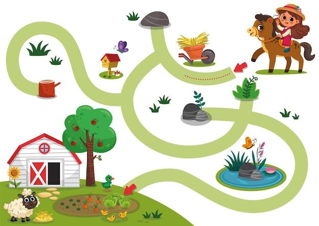 Educatief doolhofspel voor kleuters met boerderijthema cartoon vector illustration