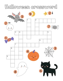 Educatief kinderspel. halloween-kruiswoordraadsel voor kinderen.