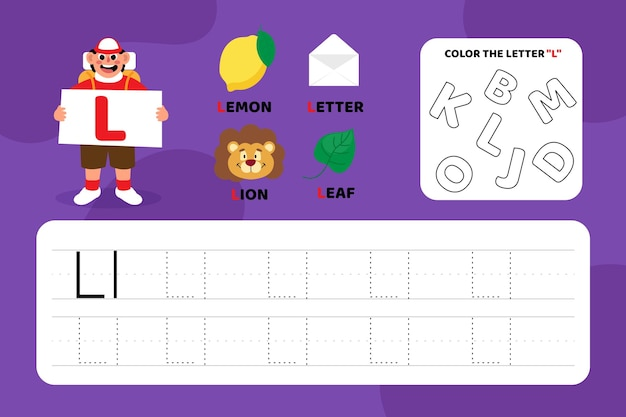 Educatief letter l-werkblad met illustraties