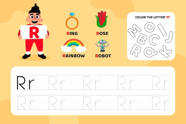 Educatief letter r-werkblad met illustraties