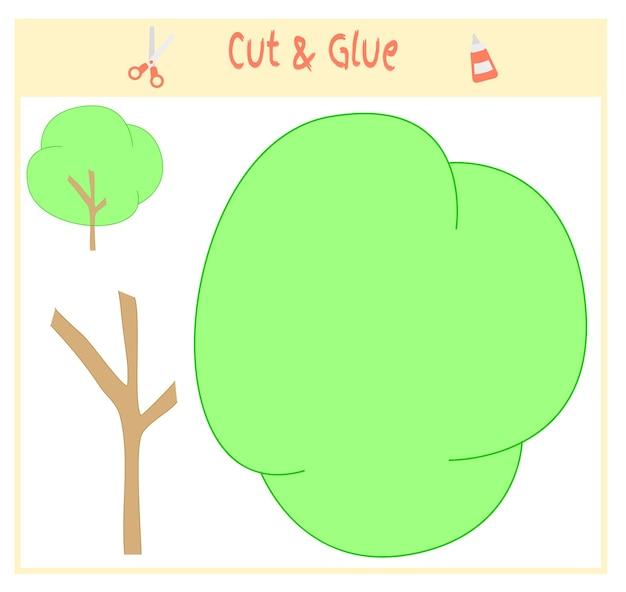Educatief papierspel voor de ontwikkeling van kleuters. knip delen van de afbeelding uit en plak ze op het papier. vector illustratie. gebruik een schaar en lijm om de applique te maken. groene boom.
