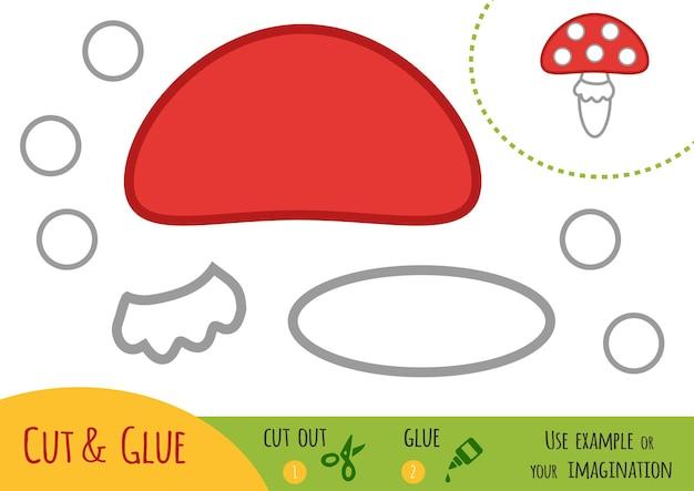 Educatief papierspel voor kinderen, amanita. gebruik een schaar en lijm om de afbeelding te maken.