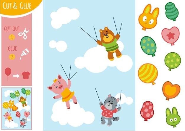 Educatief papierspel voor kinderen, dieren en ballonnen. gebruik een schaar en lijm om de afbeelding te maken.