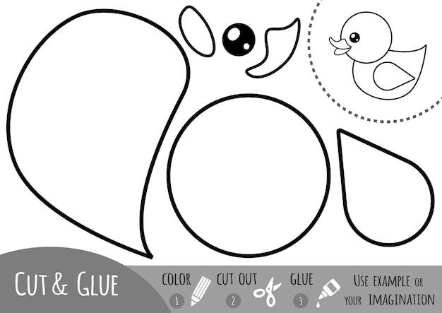 Educatief papierspel voor kinderen, eend. gebruik een schaar en lijm om de afbeelding te maken.