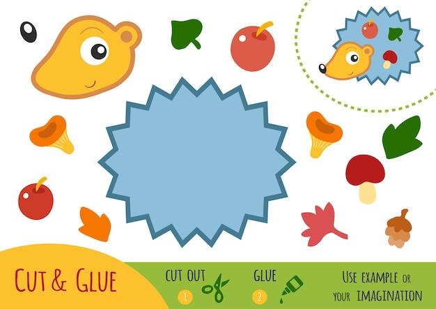Educatief papierspel voor kinderen, egel. gebruik een schaar en lijm om de afbeelding te maken.