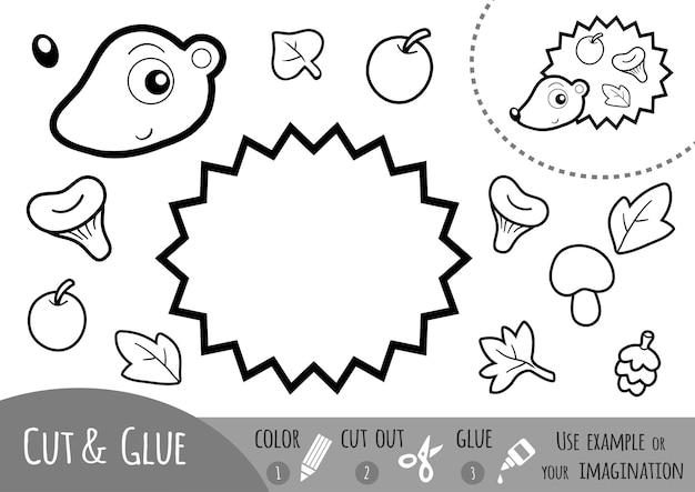 Educatief papierspel voor kinderen egel gebruik kleurpotloden, een schaar en lijm om de afbeelding te maken