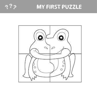 Educatief papierspel voor kinderen, kikker. gebruik delen om de afbeelding te maken. mijn eerste puzzel- en kleurboek
