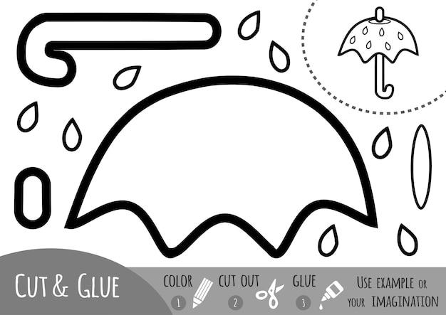Educatief papierspel voor kinderen, paraplu. gebruik een schaar en lijm om de afbeelding te maken.