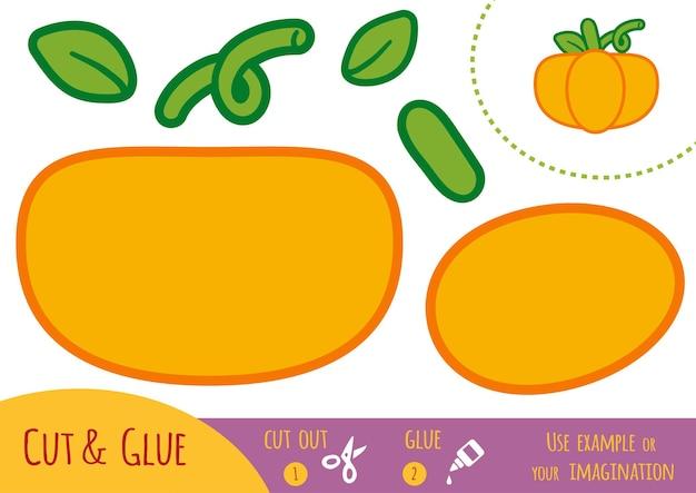 Educatief papierspel voor kinderen, pompoen. gebruik een schaar en lijm om de afbeelding te maken.