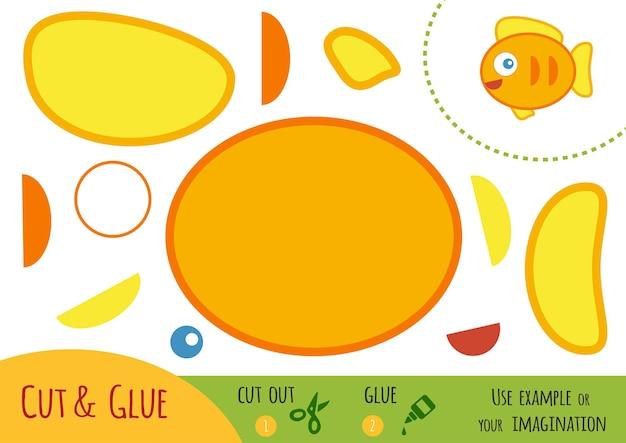 Educatief papierspel voor kinderen, vis. gebruik een schaar en lijm om de afbeelding te maken.