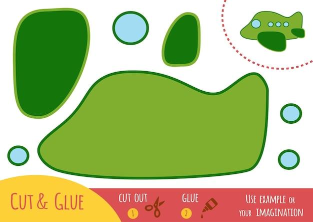 Educatief papierspel voor kinderen, vliegtuig. gebruik een schaar en lijm om de afbeelding te maken.