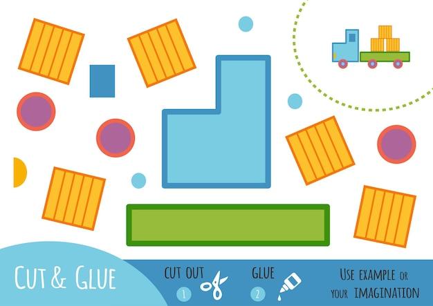 Educatief papierspel voor kinderen, vrachtwagen. gebruik een schaar en lijm om de afbeelding te maken.